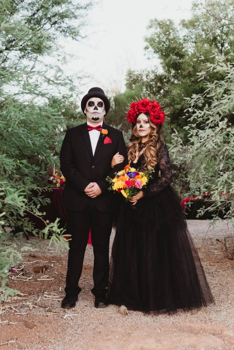 This spooktacular wedding shoot was inspired by the Day of the Dead and took place outside