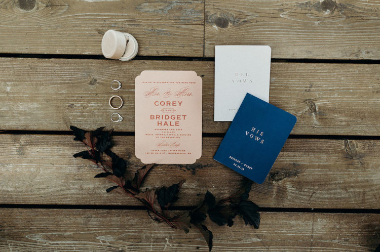 The wedding stationery was blush, navy and white plus letter pressing