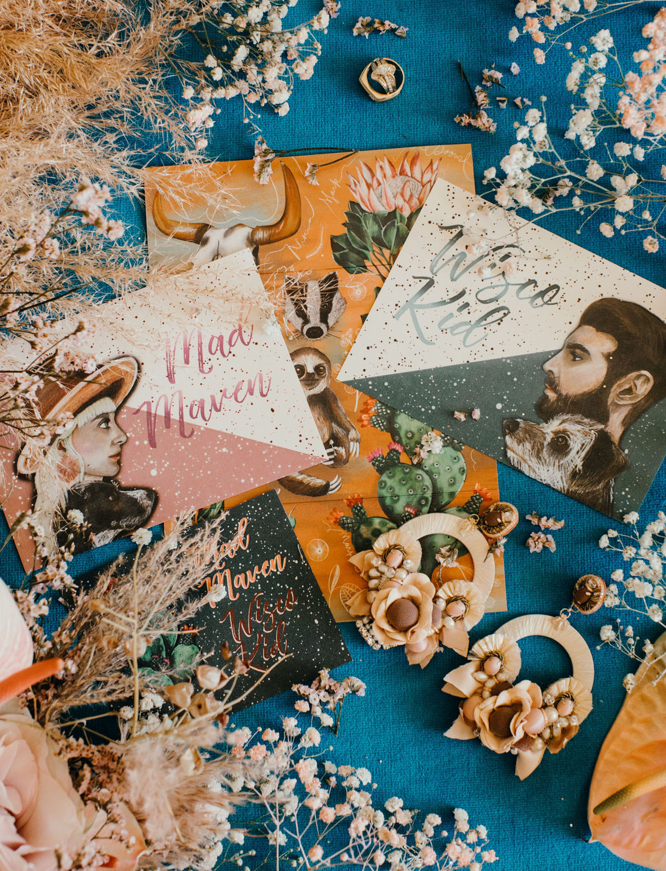 The wedding stationery was colorful and creative just like the couple themselves