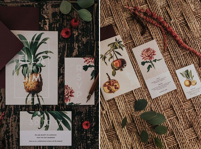 The wedding stationery was done with fruit and berry prints