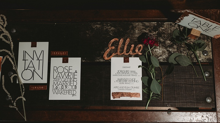 The wedding stationery was mid-century modern, with gold foil, which is a trendy idea