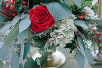 02 a chic floral wedding centerpiece with red roses, hydrangeas, dahlias and lots of lush greenery