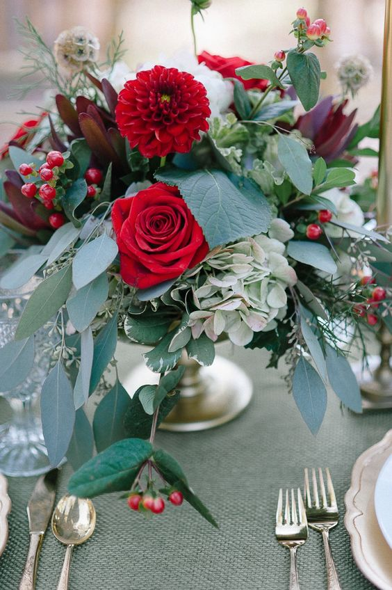 a chic floral wedding centerpiece with red roses, hydrangeas, dahlias and lots of lush greenery