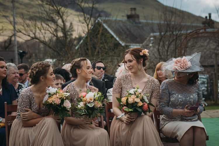 The bridesmaids were wearing blush gows with sequin bodices