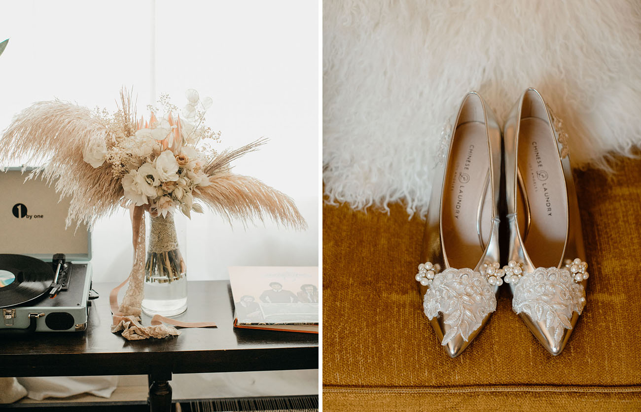 The wedding shoes with lace and embellishments are adorable