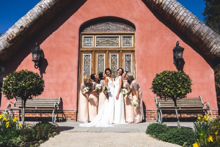 The bridesmaids were wearing blush dresses and sequins to keep the wedding glam