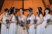 04 The bridesmaids were wearing silver and grey strap maxi dresses and dried flower crowns