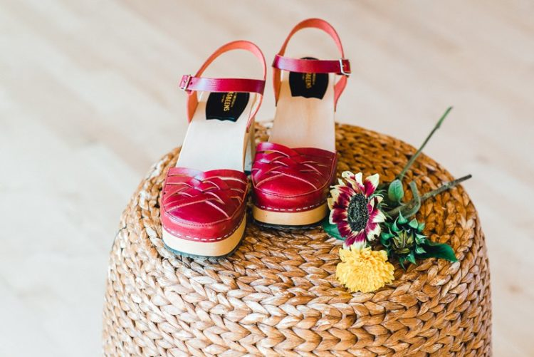 Another shoe idea - platform sandals in hot red for a colorful touch