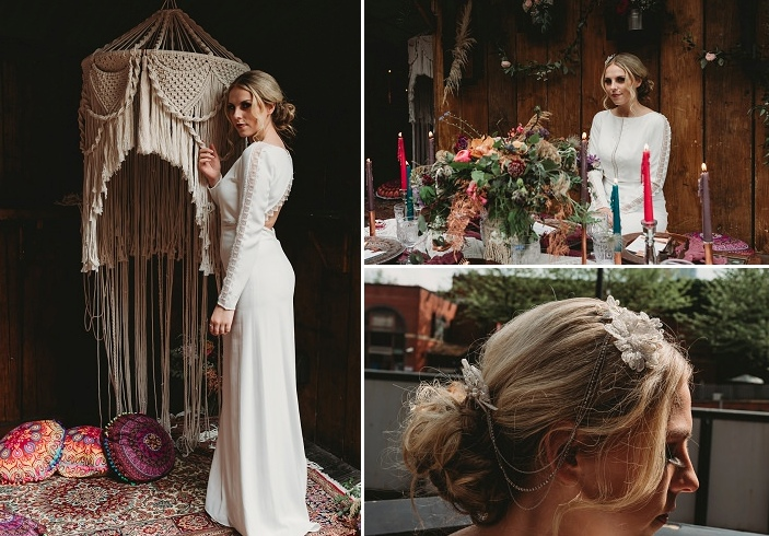 The back of the dress was cutout, with long sleeves, and the headpiece was a boho one with chains and lace flowers