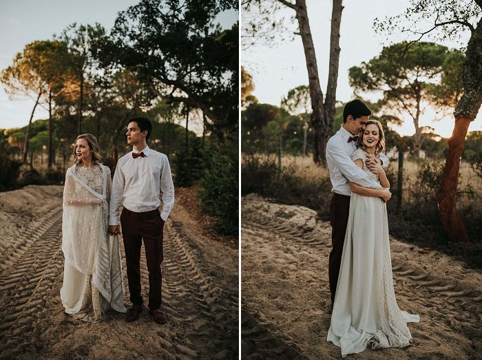 The groom was rocking a white shirt, burgundy pants and a mathcing bow tie