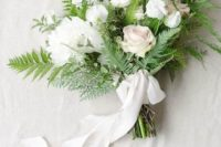 05 a chic textural white winter wedding bouquet with ferns and white ribbons