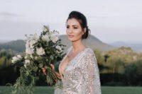 modern shiny silver wedding gown