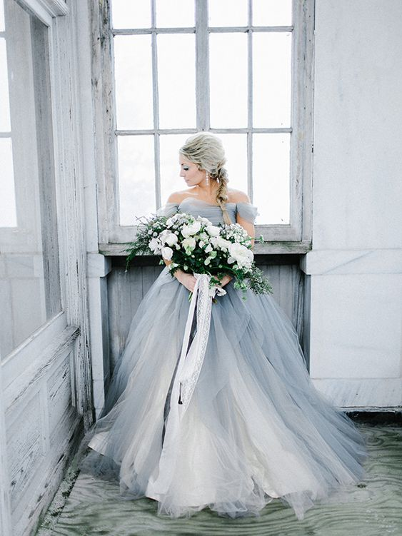 a grey off the shoulder princess style gown with white layers for an ice queen look