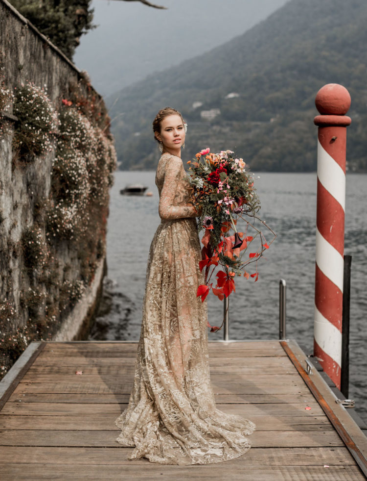 a unique gold lace dress with sheath parts and long sleeves is a fantastic idea to show off gold without looking banal