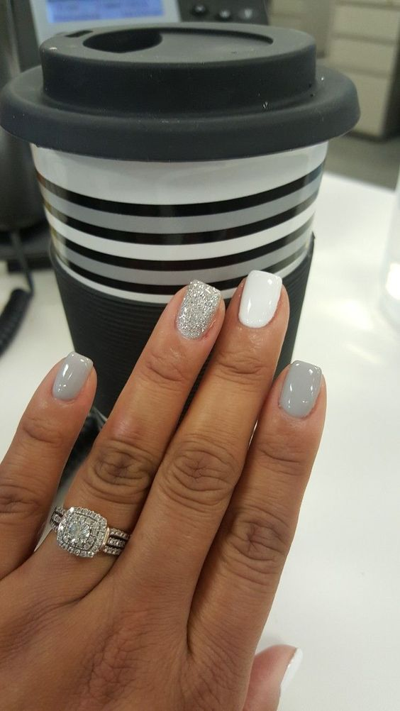 chic winter neutrals, white, grey and silver glitter for a bride who wants a fresh take on neutrals