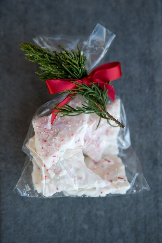 make some peppermint bark and pack the shards in individual packs adding a bow and evergreens