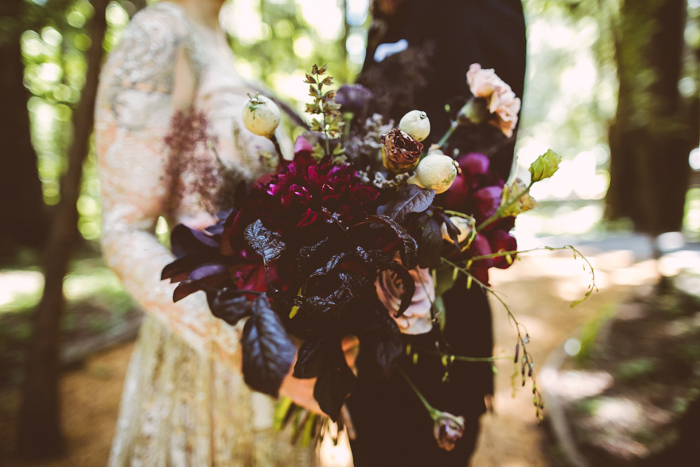 The bridal bouquet was a gorgeous moody one, with dark, fuchsia and dusty pink blooms