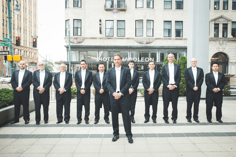 The groomsmen were rocking the same looks as the groom