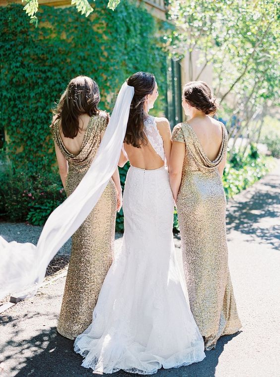 gold sequin bridesmaid dresses with cutout draped backs are a very elegant option, they will never go out of style