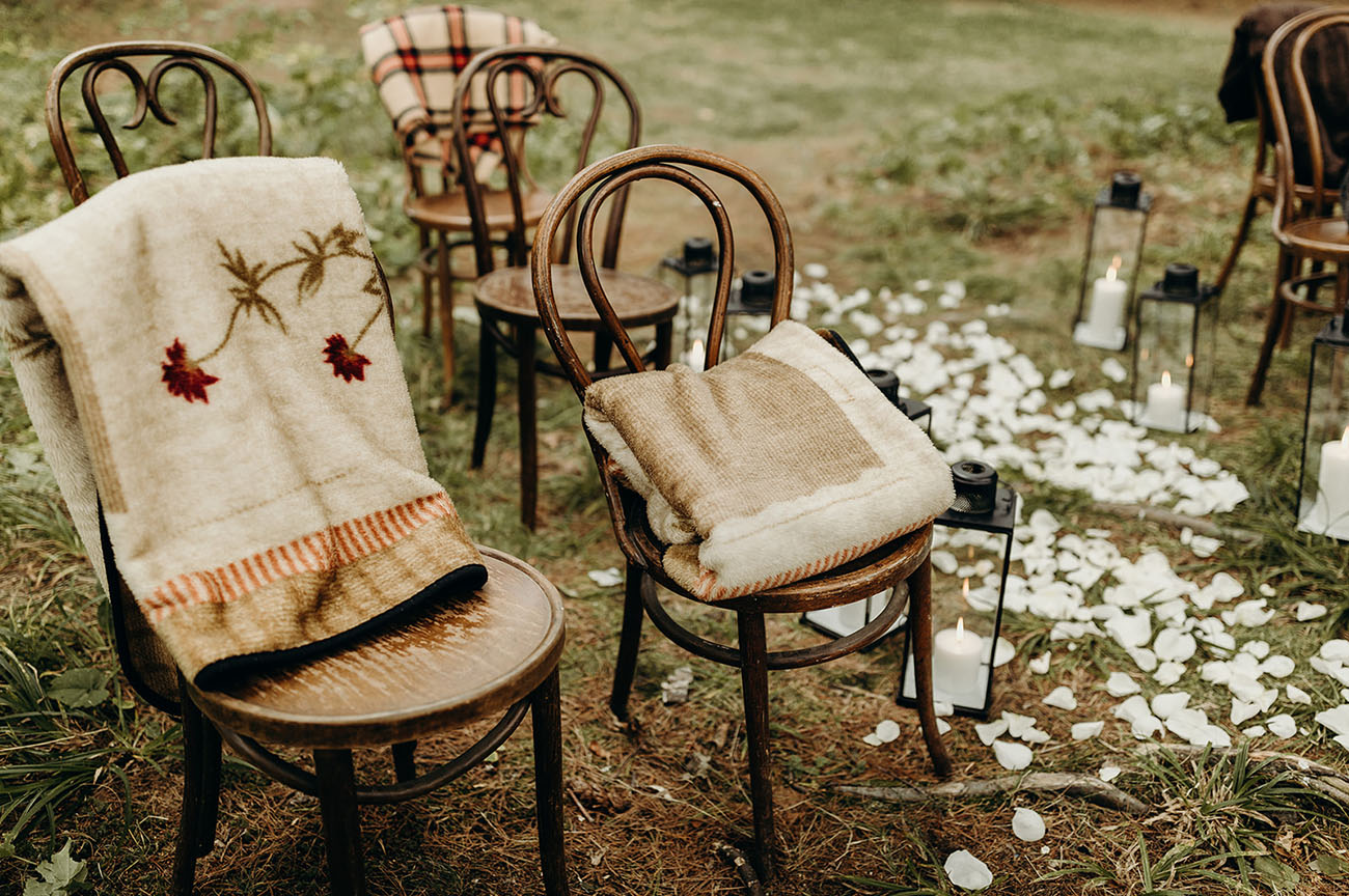 chairs covered with blankets