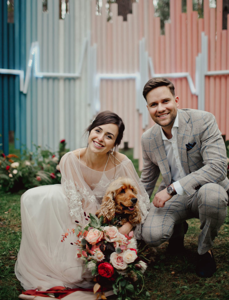 The couple's dog was participating in the wedding, too