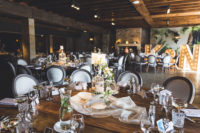 07 The venue was styled with cute bird cage and flower centerpieces for a breezy look