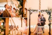 07 The wedding arch was a wooden one with greenery, blooms, herbs and dried blooms