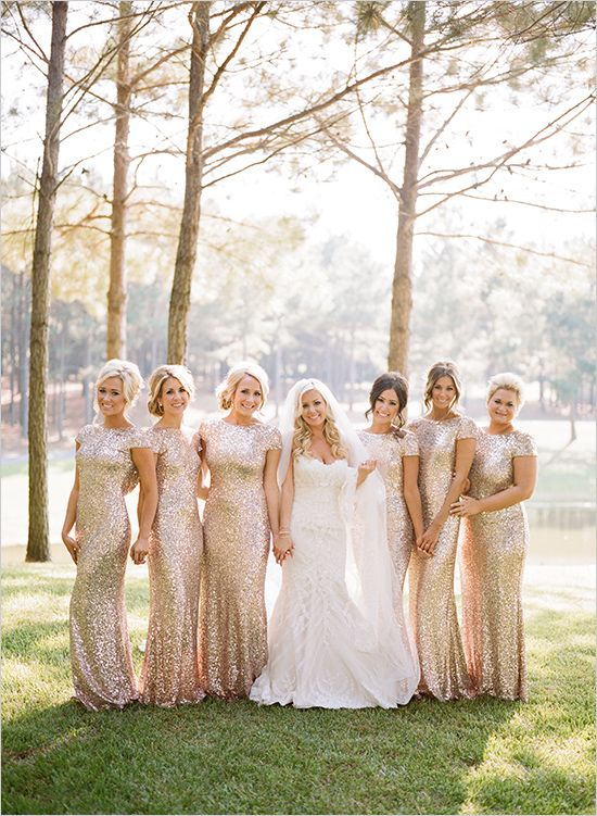 sparkly gold sequin bridesmaid dresses with short sleeves and high necklines for a glam touch at your wedding