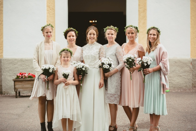 The bridesmaids were wearing a mix of pastels, each girl chose her own one