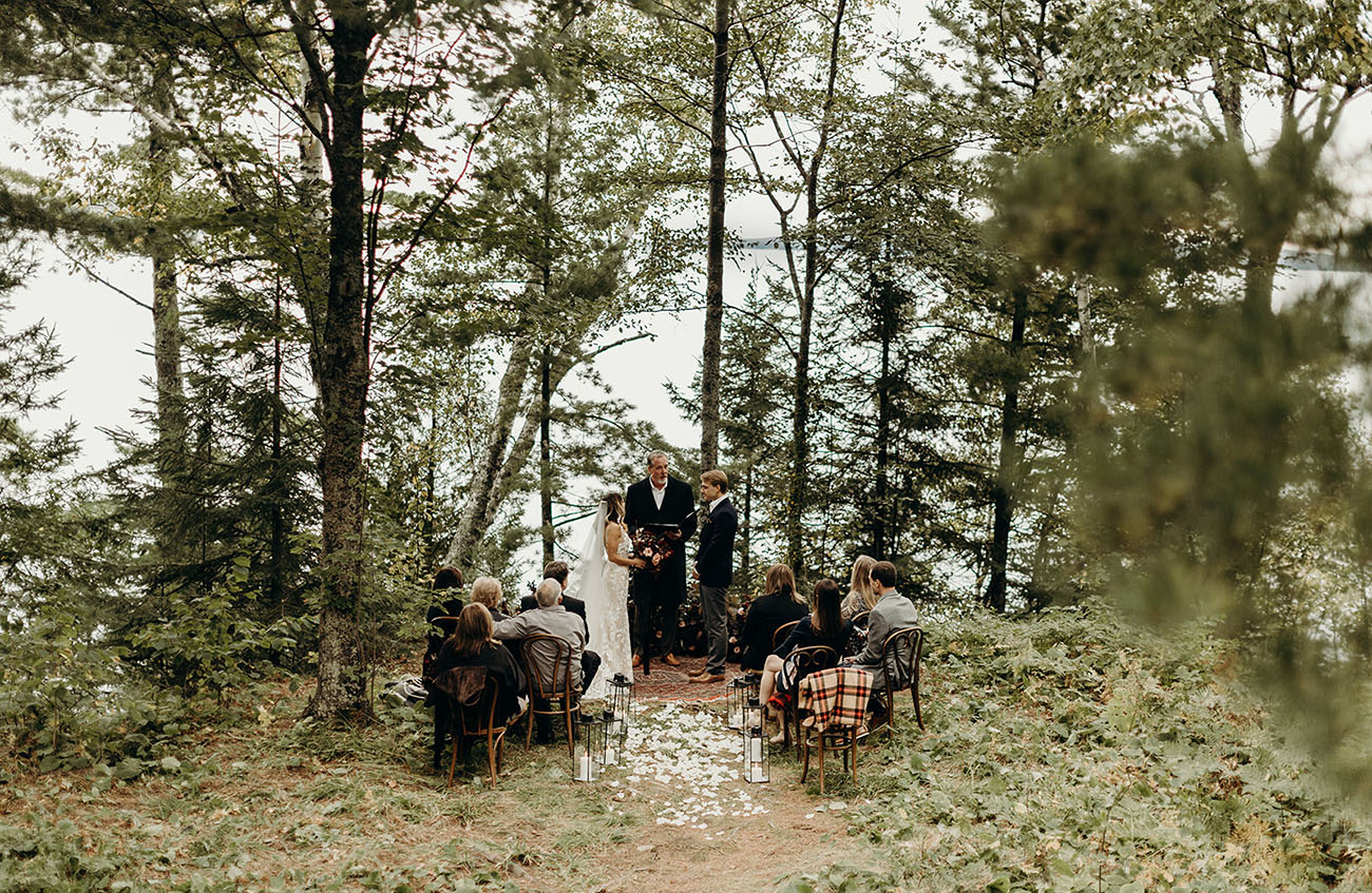 The wedding ceremony was intimate and cozy, right on the shore of the lake