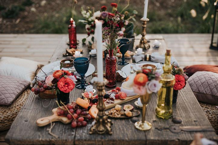 wedding picnic table decor for a photo shoot