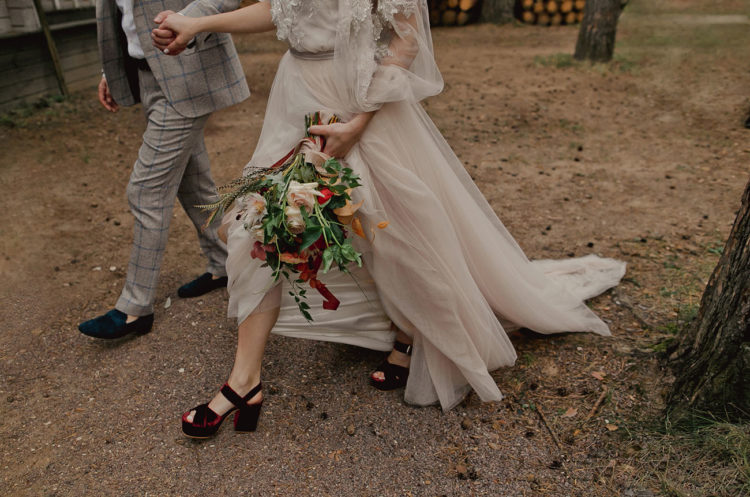 What gorgeous burgundy velvet shoes the bride was rocking