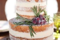 08 a delicious naked wedding cake doesn't require much decor, you may stick to only sugared cranberries and rosemary