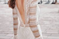 illusion long sleeves wedding gown