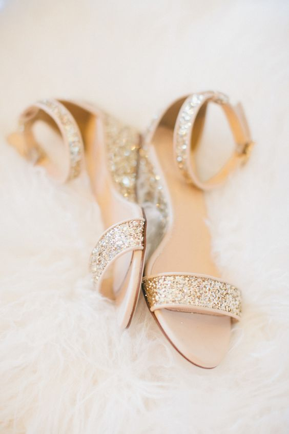gold glitter flats with ankle straps are a glam and comfortable idea for any bride, in any wedding season