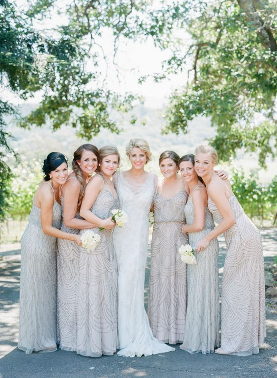 mismatching silver embellished bridesmaids' dresses with spaghetti straps for an ultra glam look