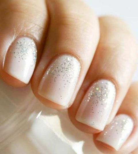 nude nails with a touch of glitter are winter and holiday classics that always works