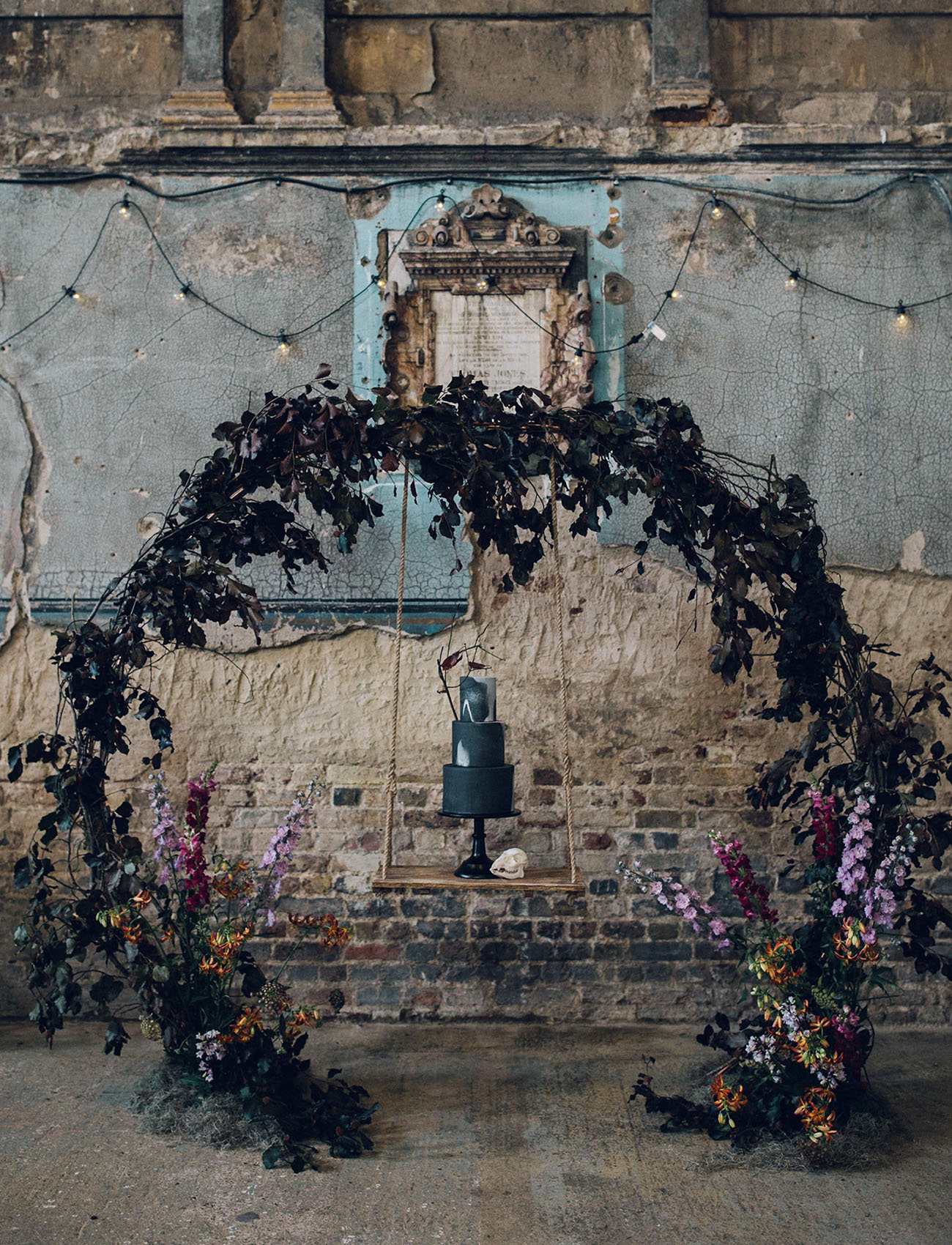moody floral arch
