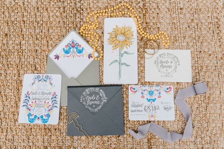 The wedding stationery suite was a colorful one with vintage and folksy influences