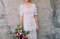 09 a boho white geometric lace midi wedding gown with short sleeves and a nude underdress