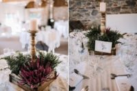 10 The wedding centerpieces were made of dried blooms and greenery plus candles