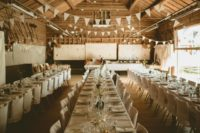 10 The wedding reception was done with buntings, neutral linens and florals, everything was DIY