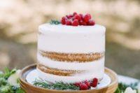 minimalist holiday-inspired wedding cake