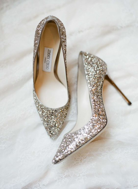silver glitter wedding high heels will make any look more refined and chic at once