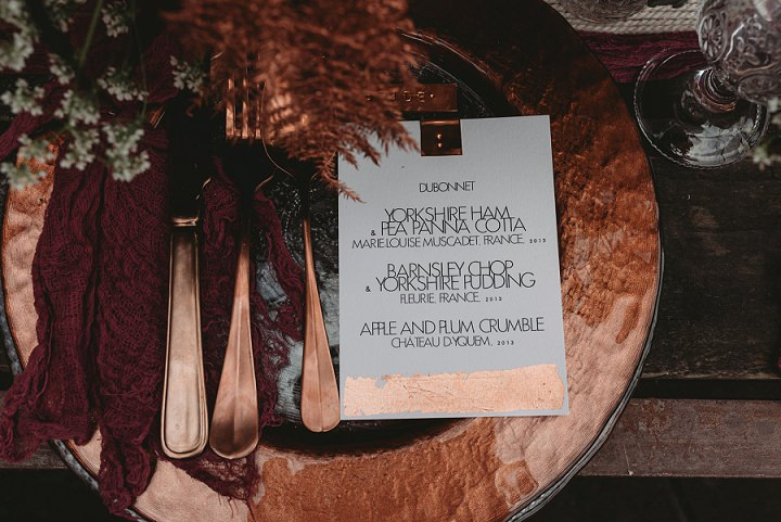 Each place setting was done with a wooden or Moroccan charger and purple napkins