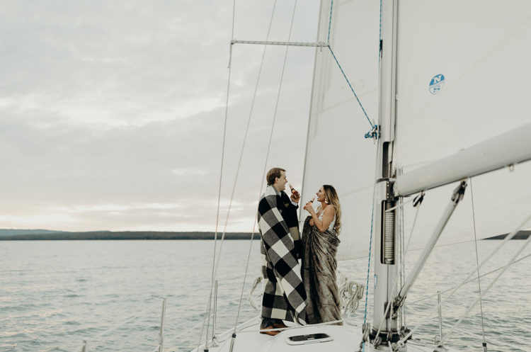 The couple had a great time together on a sailboat and enjoyed the sunset