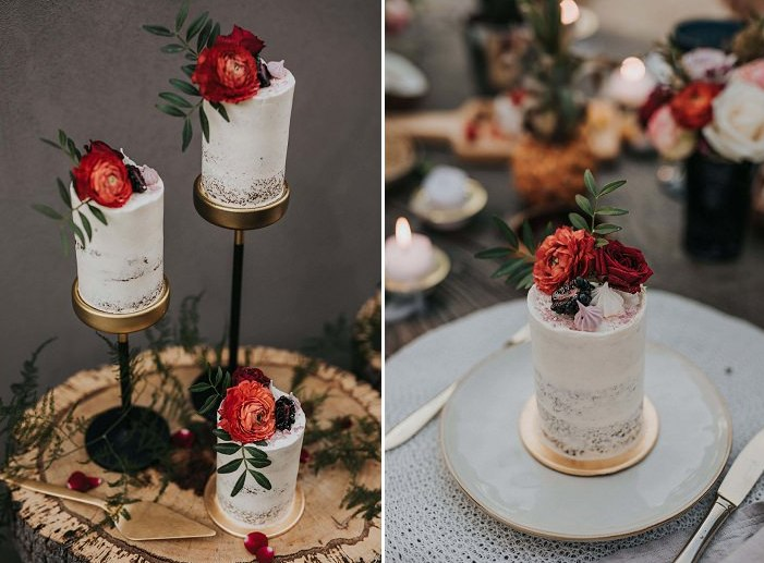 The wedding cakes were individual topped with blooms, berries and meringues