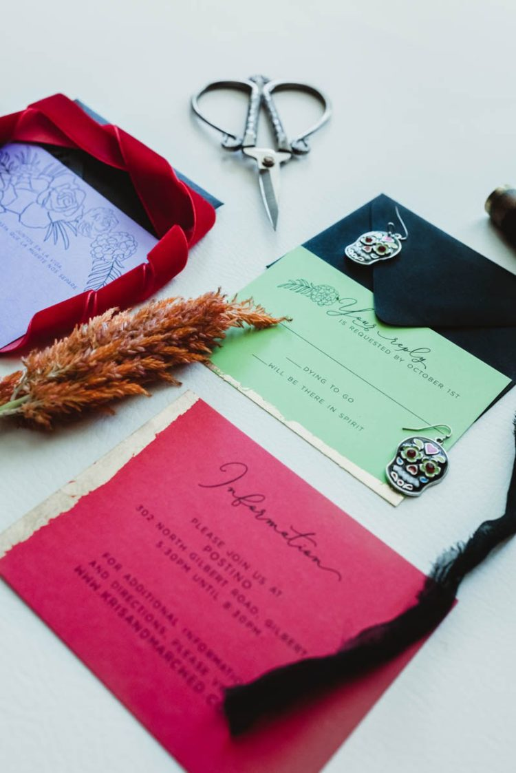 The wedding stationery was bright and bold