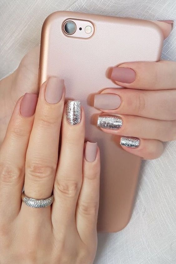 matte mauve, blush nails with touches of silver glitter for a refined, chic and girlish look