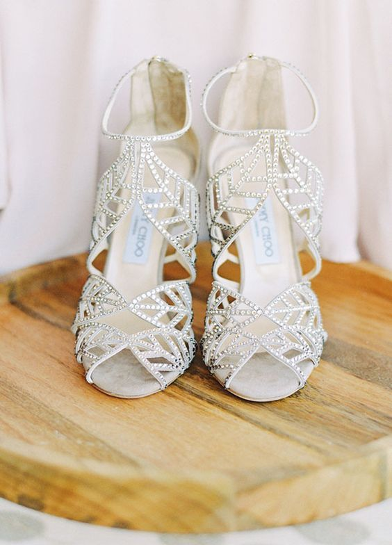 silver rhinestone leafy high heels will add a glam yet natural touch to your bridal look